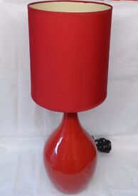 Pair Red Table Lamps, with Shades, 55 cm High.
