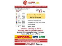Courier to India from GBP 1.85 Per kg and worldwide from GBP 2.35 PER KG