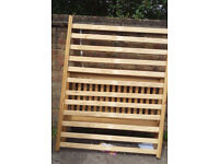 double wooden bed frame pine wood with wooden slats