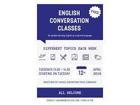 ENGLISH CONVERSATION CLASSES – FREE