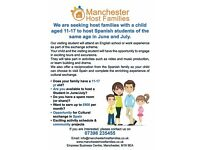Host families with children needed in Manchester to host Spanish & Swiss pupils