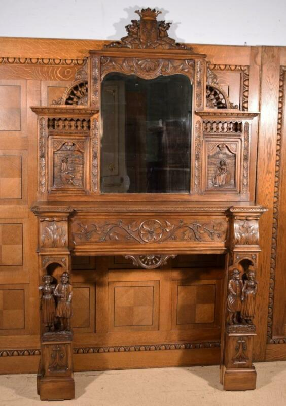 Antique French Breton (Brittany) Fireplace Surround/Mantel with Mirror