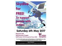 Skydive for free and support people with Autism - Saturday 6th May 2017