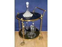 Antique Vintage Solid Brass Drinks Cocktail Trolley & Cut Glass Decanters