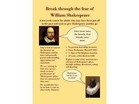 Shakespeare course for adults who want to give him another go - ten weeks from March 8th