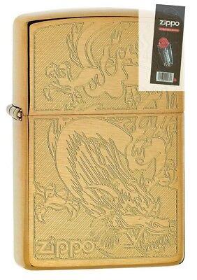 4622 engraved dragon brushed brass finish lighter