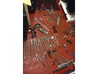 Job lot of drum stands, tom arms/legs, all parts or spares or repair