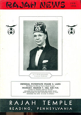 Rajah News February 1955 Shriner Masonry Magazine  Reading Pa  Local Ads