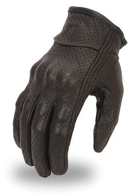 Racing Perforated Motorcycle Leather Glove W/ Knuckle Padding Small