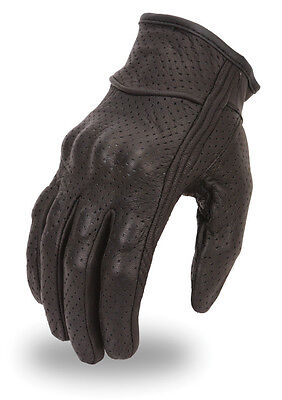 Racing Perforated Motorcycle Leather Glove W/ Knuckle Padding Large