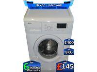 Quick Wash, 8kg Drum, 1400 Spin, Beko Washing Machine, Factory Refurbished inc 6 Months Warranty
