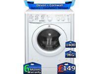 Indesit Washing Machine, 9kg Drum, 1400 Spin, Fast Wash, Factory Refurbished inc 6 Months Warranty