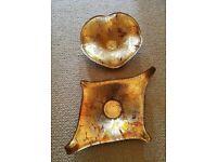 NEW Glassware Italian Gold Pair of Foil Glass Bowls Round Diamond Tableware Ornamental Designer