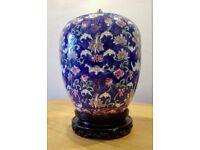 Chinese Antique Porcelain Famille Rose Noir Verte Ginger Jar