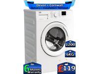 Quick Wash, Beko Washing Machine, 1200 Spin, 6kg Drum, Factory Refurbished inc 6 Months Warranty
