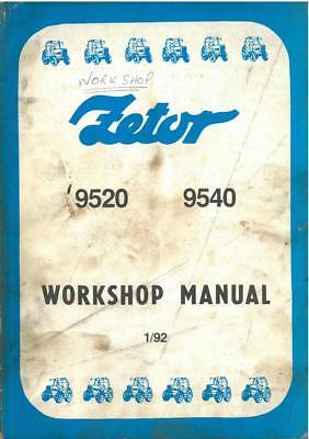 Zetor Tractor 9520 9540 Workshop Service Manual na sprzedaż  Wysyłka do Poland