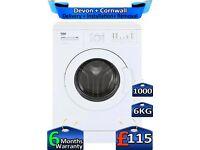 6kg Drum, Beko Washing Machine, 1000 Spin, Time Saver, Factory Refurbished inc 6 Months Warranty