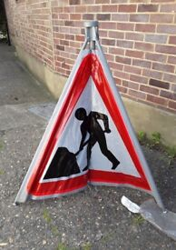 Vintage GPO Roadworks Ahead Sign - Collectable