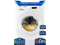 10kg Drum, Zanussi Washing Machine, 1400 Spin, Rapid Wash, Factory Refurbished inc 6 Months Warranty