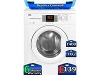 Quick Wash, Beko Washing Machine, 7kg Drum, 1400 Spin, Factory Refurbished inc 6 Months Warranty