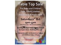 Table top sale, Saturday 1st Oct, Goring United Reformed Church Hall. 2-4pm, tables available.