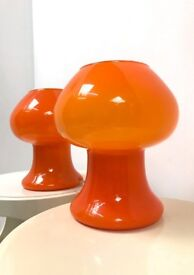 70s original Vintage Retro Pair of Italian Prova orange cased glass table lamps
