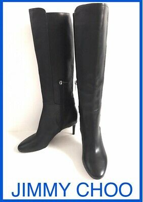NEW JIMMY CHOO 35/5 $1300 LEATHER BLACK KNEE HIGH HEELS BLACK BOOTS SHOES WOMEN