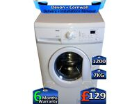 Rapid Wash, Zanussi Washing Machine, 1200 Spin, 7kg Drum, Factory Refurbished inc 6 Months Warranty