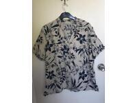Beige / navy blouse