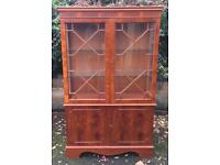 Narrow Display Cabinet Dark Wood Glass Panels