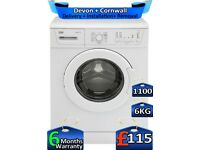 6kg Drum, Beko Washing Machine, Time Saver, 1100 Spin, Factory Refurbished inc 6 Months Warranty