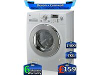 LG Washing Machine, Silent Drive, 7kg Drum, 1400 Spin, Factory Refurbished inc 6 Months Warranty