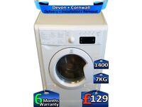 7kg Drum, Indesit Washing Machine, 1400 Spin, Fast Wash, Factory Refurbished inc 6 Months Warranty