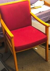 Set of four upholstered wood chairs with arms suitable home, office. £60. Will sell separately.