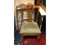 antique retro vintage dining kitchen wooden chair with green cover