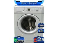 Beko Washing Machine, 1200 Spin, 8kg Drum, Fast Wash, Factory Refurbished inc 6 Months Warranty