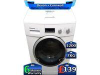 Rapid Wash, Panasonic Washing Machine 7kg Drum, 1200 Spin, Factory Refurbished inc 6 Months Warranty