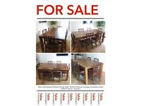 John Lewis Samara 8 Seater Dining Table 100cmx190cm & 6 vintage red-leather chairs