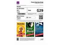 4 x West End Theatre tickets for Wicked Sat 28th Oct Matinee 2.30pm high value 7 rows from front