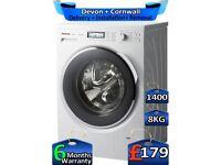 8kg Drum, 1400 Spin, Inverter, Panasonic Washing Machine, Factory Refurbished inc 6 Months Warranty