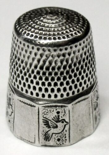 "Antique Simons Bros. Sterling Silver Thimble  Folk Art ""Birds""  C1880s"