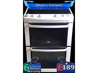 Gloss White, Zanussi Ceramic Double Oven, Fan Assisted, Fully Refurbished inc 6 Months Warranty