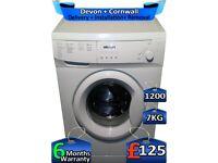 7kg Drum, Bush Washing Machine, Fast Wash, 1200 Spin, Factory Refurbished inc 6 Months Warranty