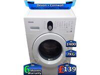Quick Wash, Samsung Washing Machine, 1400 Spin, 7kg Drum, Factory Refurbished inc 6 Months Warranty