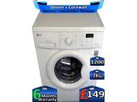 LG Washing Machine, 1200 Spin, 7kg Drum, Rapid Wash, Factory Refurbished inc 6 Months Warranty