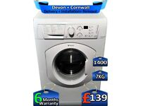 Quick Wash, Hotpoint Washing Machine, 7kg Drum, 1400 Spin, Factory Refurbished inc 6 Months Warranty