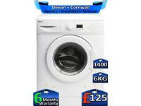 6kg Drum, 1400 Spin, Fast Wash, Beko Washing Machine, Factory Refurbished inc 6 Months Warranty