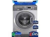 Rapid Wash, Hotpoint Washing Machine, 1200 Spin, 7kg Drum, Factory Refurbished inc 6 Months Warranty