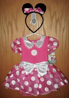 NWT ~ Disney Baby MINNIE MOUSE Pink Dress Halloween Costume 6-12 Months +Ears - Baby Halloween Led