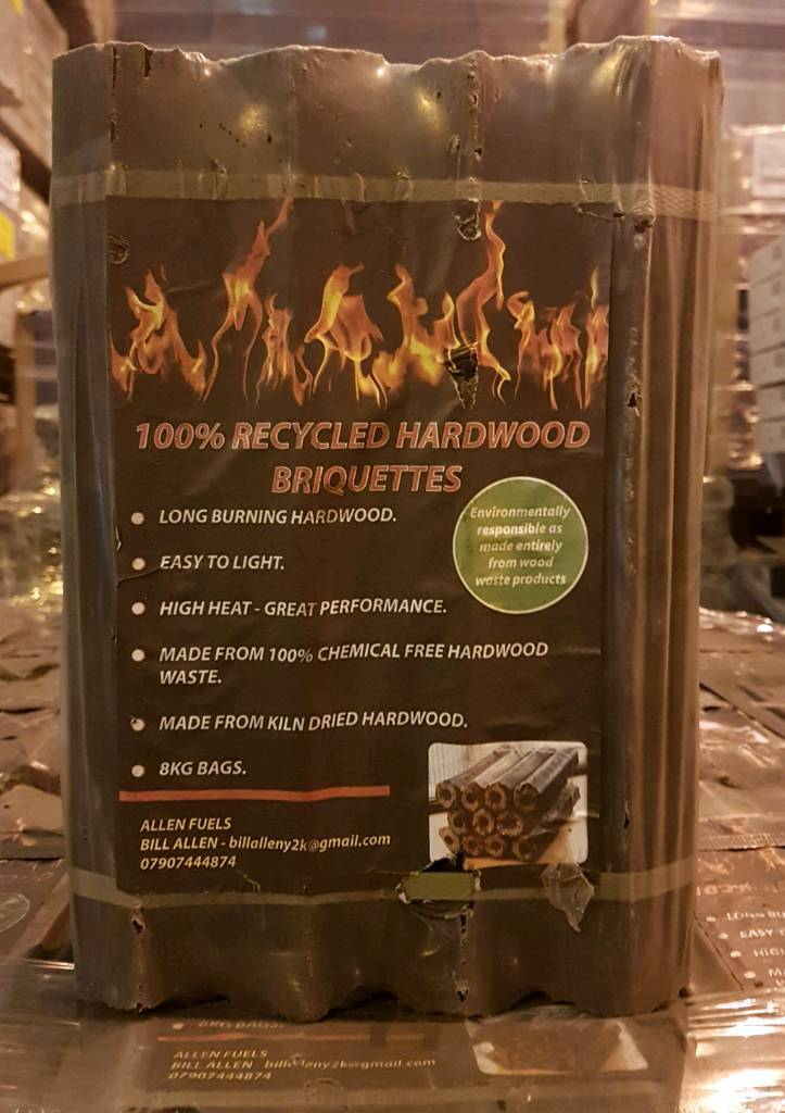 100% Recycled Kiln Dried Hardwood Briquettes